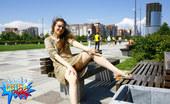 Cuties Flashing Girl Flashing Pink On The Main Square Of Her Town Cuties Flashing