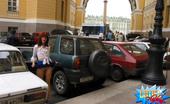 Cuties Flashing Exhibitionist Hoochies Having Fun At A Car Parking Cuties Flashing