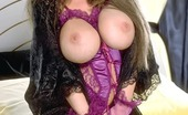 Big Tit Queens Gorgeous Brown-Haired In Purple Lingerie Show Her Big Hooters And Pussy Lips Big Tit Queens