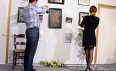 Love Nylons Marion & Adam Black-Stockinged Gal Doing It With Kinky Cameraman Right In The Art Gallery Love Nylons