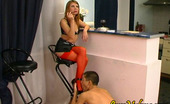 Love Nylons Alice & Nathan Smokin' Domina In Red Stockings Letting Naked Guy Worship And Pleasure Her Love Nylons