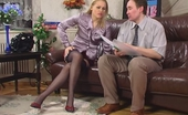 Love Nylons Susanna & Morris Clever Blonde In Lace Top Stockings Convincing A Client To Sign A Contract Love Nylons