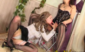 Love Nylons Ninnon & Peggy Hottie In Patterned Black Stockings Fondling And Kissing Slit In Lez Games Love Nylons