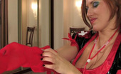 Love Nylons Jaclyn French Maid In Funky Uniform Fitting Red Stockings And Fondling Her Muff Love Nylons