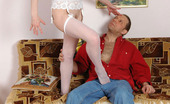 Love Nylons 492723 Polly & Gilbert Horny Neighbor Spying Upon Blondie In Bridal Nylons Before Playing 69 Game Love Nylons