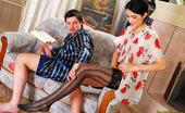 Love Nylons Emmie & Adam Leggy Brunette Fitting Her Patterned Stockings For Kinky Nylon Fetish Sex Love Nylons