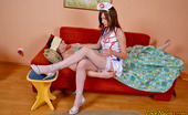 Love Nylons Zoya & Peter Raunchy Nurse In Full-Fashioned White Stockings Taking Pecker Up Her Twat Love Nylons