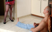 Love Nylons Alana & Nicholas Stockinged Chick In Funky Outfit Kneels Down Itching For Hardcore Session Love Nylons