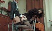 Lacy Nylons Sheila & Jaclyn Female Co-Workers In Black Stockings Taking The Most From Strap-On Fucking Lacy Nylons