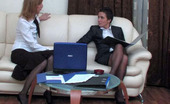 Lacy Nylons Sheila & Emilia Business Meeting Turns Into Strap-On Frenzy For Hot Gals In Black Stockings Lacy Nylons