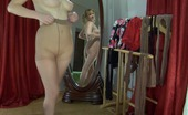 Lacy Nylons Dorothy Pony-Tailed Naughty Babe Craving To Change Her Control Top Nylon Pantyhose Lacy Nylons