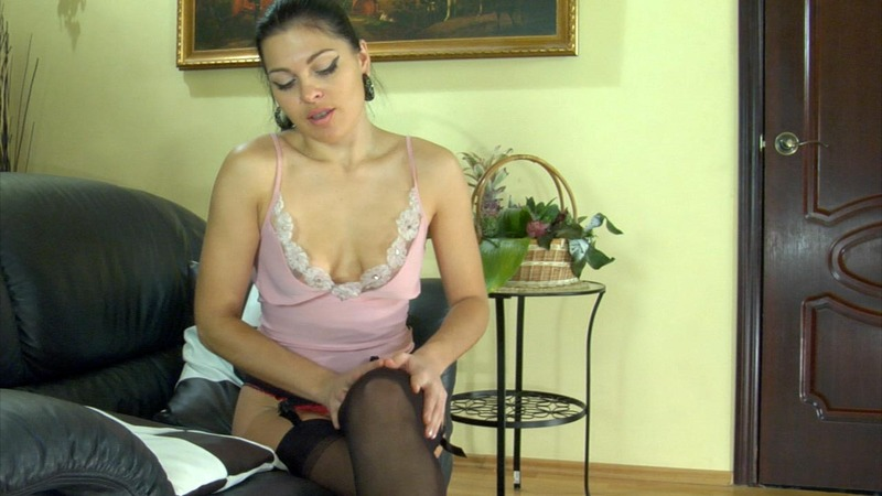 lacy nylons muriel dark haired temptress enjoys the feel