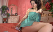 Lacy Nylons Hazel Naughty Babe Puts On Her Sheer Suntan Stockings Before Fingering Her Pussy Lacy Nylons