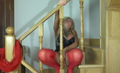 Lacy Nylons Monica Curvy Blondie In Red Stockings Craves To Get New Sensations On The Stairs Lacy Nylons