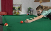 Lacy Nylons Cecilia Awesome Gal In Slight Sheen Stockings Using A Dildo In The Game Of Billiards Lacy Nylons