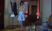 Lacy Nylons Mireille Dark-Haired Girl Strips To Her Gartered Stockings Enjoying Their Nylon Feel Lacy Nylons