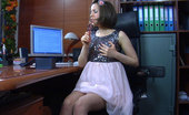 Lacy Nylons Mishelle Doll-Faced Office Babe Mounts Her Working Table For Stockinged Dildo Toying Lacy Nylons