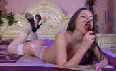 Lacy Nylons Hatty Topless Sweetie In White Fashion Stockings Licks And Stuffs Her Glass Toy Lacy Nylons