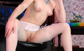 Lacy Nylons Elena Sexy Bride Strips Her Blue Wedding Dress Revealing Barely Visible Stockings Lacy Nylons