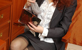 Lacy Nylons Jasmin Secretary Teases With Her Upskirt Look Changing Black Nylons For Grey Ones Lacy Nylons