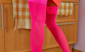 Lacy Nylons Edna Mischievous Babe Getting Out Of Control Posing In Her Bright Pink Stockings Lacy Nylons