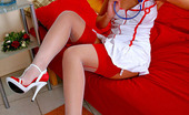 Lacy Nylons Fidelia Freaky Nurse Flashing Her Slit Spreading Her Legs In Contrast Top Stockings Lacy Nylons