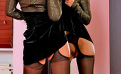 Lacy Nylons Gertie Hottie Looking At Reflection Of Her Legs In Black Stockings In The Mirror Lacy Nylons