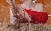 Lacy Nylons 493869 Kitty Dolled-Up Babe Strips Her Scarlet Gown Dildo Toying In Her Sheer Stockings Lacy Nylons