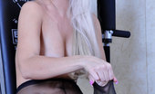 Lacy Nylons Dolly Sporty Platinum Blonde In Black Sheer-To-Waist Pantyhose Exercising Topless Lacy Nylons