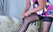 Lacy Nylons Tavia Dickty Brunette Changing Into Her Bright Dress And Pretty White Lacy Nylons Lacy Nylons