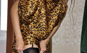 Lacy Nylons Meggy Busty Chick Changes Into Her Leopard Dress And Chooses Black Classy Nylons Lacy Nylons