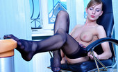 Lacy Nylons Rosa Kinky Office Babe Plays With Her Laddered Stockings Before Changing Them Lacy Nylons
