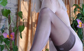 Lacy Nylons Esther Hot Blonde Clad In Shiny Tan Nylons Flashes Her Behind In The Billiard Room Lacy Nylons