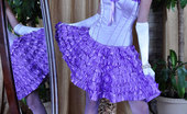 Lacy Nylons Madeleine Dressy Hottie Strips To Her Retro Style White Garter Belt And Lilac Nylons Lacy Nylons