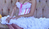 Lacy Nylons Denis Eye-Catching Doll In A Showy Dress With Pink Satin Top Stockings Uses A Toy Lacy Nylons