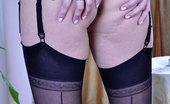 Lacy Nylons May Upskirt Teaser In Black Seam-N-Heel Stockings Exposes Her Round Ass Cheeks Lacy Nylons