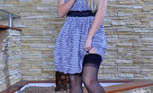 Lacy Nylons Denis Sweet Blondie Reveals A Pair Of Black Seamed Stockings Fooling With A Dildo Lacy Nylons