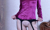 Lacy Nylons Juliet Willowy Nude Babe Puts On Sheer Stockings With A Black Garter Belt To Work Lacy Nylons