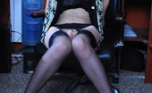 Lacy Nylons Emmanuel Smashing Upskirt Secretary Strips To Classy Black Stockings In The Office Lacy Nylons