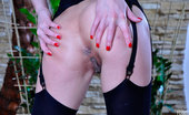 Lacy Nylons Madeleine Long-Legged Teaser Fingering In Black Suspender Stockings And Fuck-Me-Heels Lacy Nylons
