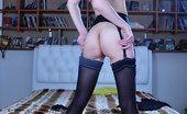 Lacy Nylons Emmanuel Eye-Catching Hottie Puts On A Pair Of Gorgeous Black Opaques With A Print Lacy Nylons