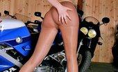 Pantyhose TV Blonde Girl Victoria With Long Legs In Pantyhose Posing On Bike Pantyhose TV