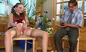 Nylon Screen Pony-Tailed Chick In Tan Stockings Rubbing Her Pussy In Front Of Horny Guy Nylon Screen