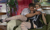 Nylon Screen Naughty French Maid In Funky Stripy Stockings Delivers Extra Cock Service Nylon Screen