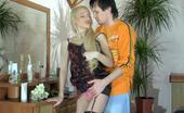 Nylon Screen Curvy Blonde In Black Gartered Stockings Lures A Guy Into Wild Intercourse Nylon Screen