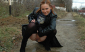 Pissing Outdoor Outdoor Pissing Of Teen Blonde In Stockings And Leather CoatPissing On Asphalt Road Outdoor As Teen Blonde Irina Walking Durint The Cold Autumn Day And Pissing In Her Pretty Stockigns And Leather Coat Pissing Outdoor