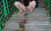 Pissing Outdoor Pissing On Outdoor Concrete LadderPissing Outdoor On A Park Ladder Where Teen Blonde Alena Is Pissing Almost Every Day Pissing Outdoor