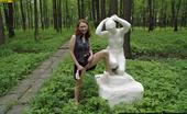Pissing Outdoor Statue PissingGirl Pisses On The Statue In The Forest Pissing Outdoor