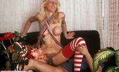 Private Classics 496368 Unknown Red And White Stockings Gorgeous Blonde Beauty In Red And White Stockings Fucking Private Classics