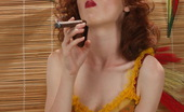 Cigar Glamour Redhead Cigar Smoker Beautiful Redhead With Red Lipstick Loves Smoking Cigars Cigar Glamour